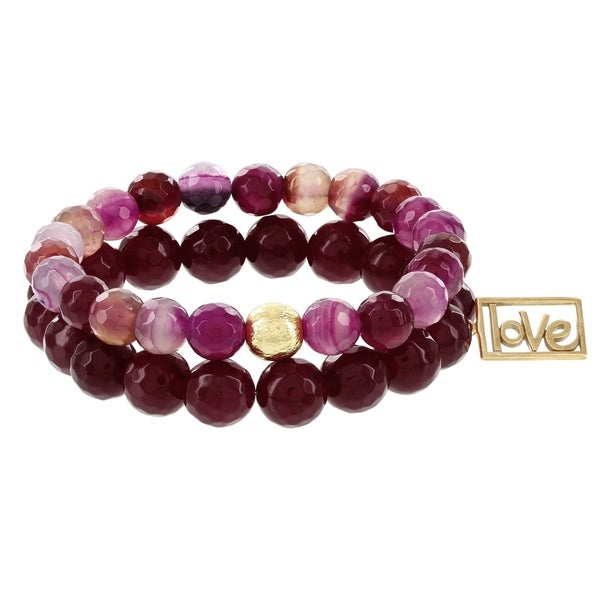 Fox and Baubles Bronze Ruby Jade Love Charm and Sweetheart Agate Bracelet (Set of 2) 32163317