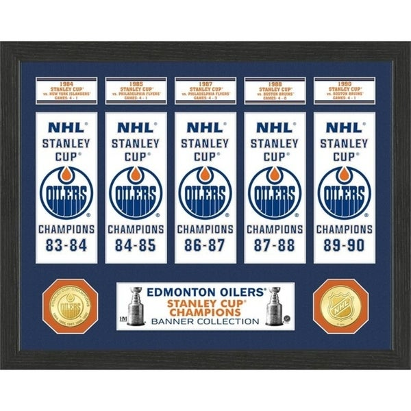 Edmonton Oilers Stanley Cup Banner Collection Photo Mint - Multi 32164358
