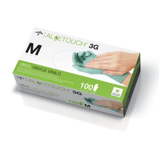 Medline Aloetouch 3G Powder-Free Latex-Free Vinyl Exam Gloves Medium (Case of 1000)