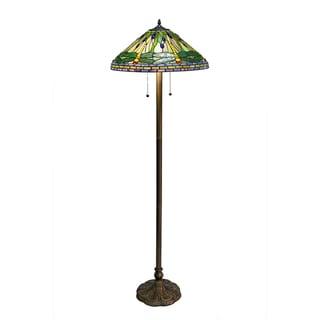 Tiffany-style Green Dragonfly Floor Lamp