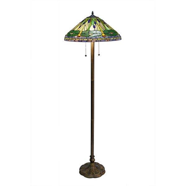 Tiffany style green dragonfly floor lamp 10249275 for Overstock tiffany floor lamp