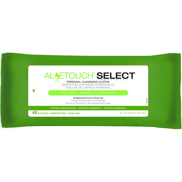 Medline Aloetouch SELECT Premium Spunlace Personal Cleansing Wipes Scented (Case of 576)