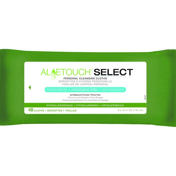Medline Aloetouch SELECT Premium Personal Cleansing Wipes Fragrance Free (Pack of 12)