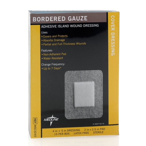 Medline Gauze Bordered 4-inch x 5 (Pack of 150)
