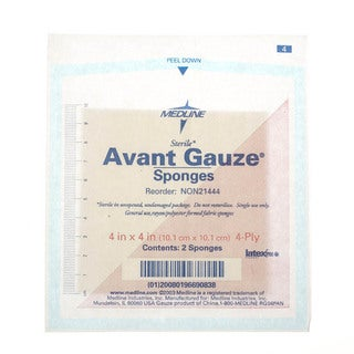 Medline Avant Gauze Non-Woven Sterile Sponges, 4 x 4 inches (Case of 1,200)