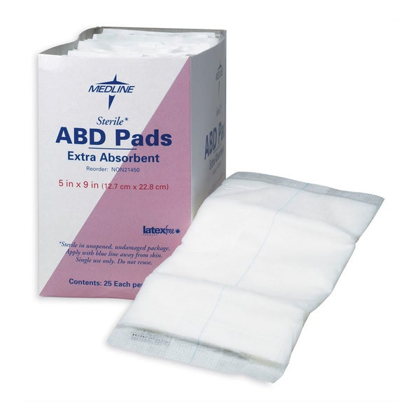Medline Abdominal Pad Sterile 5-inch x 9-inch (Pack of 400)