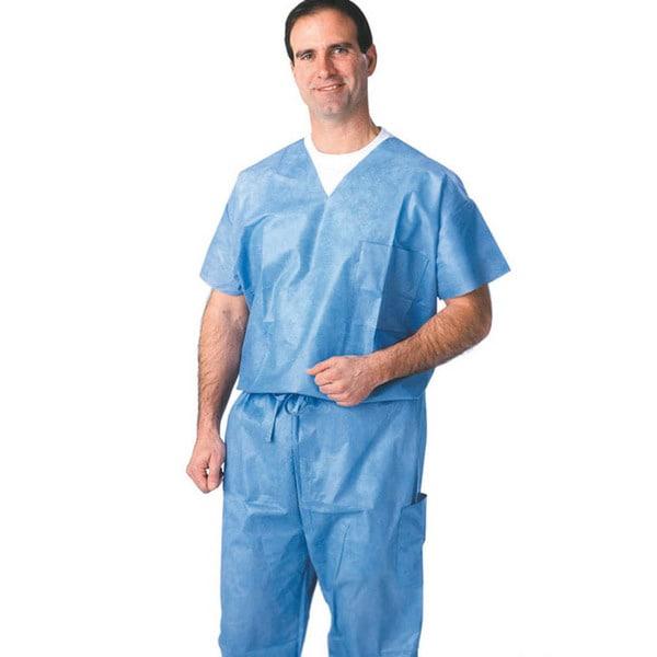 Medline V-Neck SMS Blue Scrub Shirt (Case of 30)