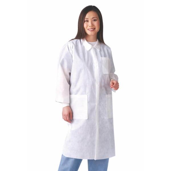 Medline Large White SMS Disposable Lab Coat (Case of 30)