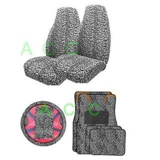 9Psc SafariCheetah Print Interior Gift Set Black & White Seat Cover 32190341