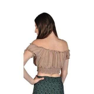 Women's Short Sleeve Shirt Strapless Off Shoulder Tops Khaki 32190640
