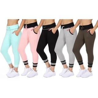 Women's French Terry Jogger Pants with Drawstring (5-Pack) 32196834