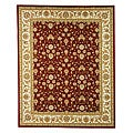 Lyndhurst Collection Floral Burgundy/ Ivory Rug (3'3 x 5'3)