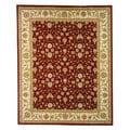 Lyndhurst Collection Floral Burgundy/ Ivory Rug (8' x 11')