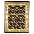"Lyndhurst Collection Traditional Polypropylene Black/Ivory Rug (5'3"" x 7'6"")"