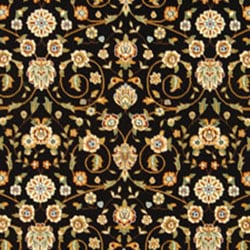 Lyndhurst Collection Traditional Black/Ivory Oriental Rug (8' x 11')