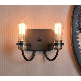 "Aiden 7"" Black with Plated Antique Brass 2 Light Sconce"