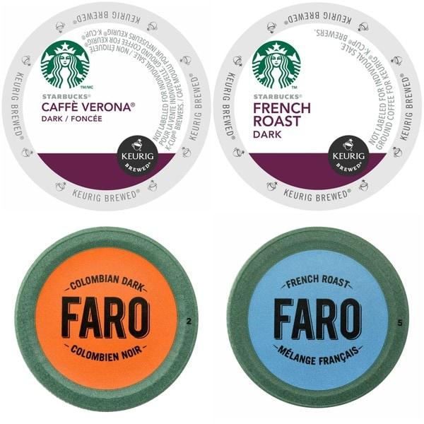 Starbucks Caffe Verona & French Roast Coffee, Faro Colombian Dark & French Roast Coffee Single Cups for Keurig Brewers, 96 Count 32293328