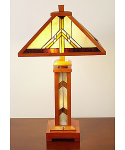 Tiffany-style Wooden Table Lamp with Lighted Base