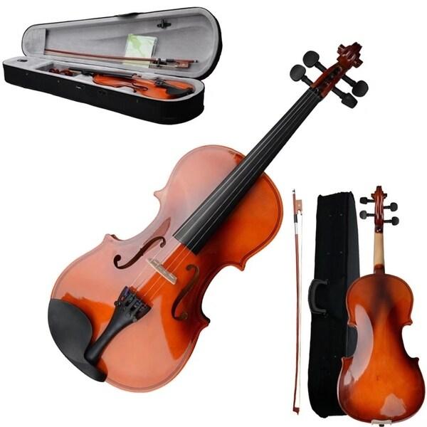 Size 3/4 Acoustic Violin w/ Case Bow Rosin Strings Tuner Shoulder Rest 32325243