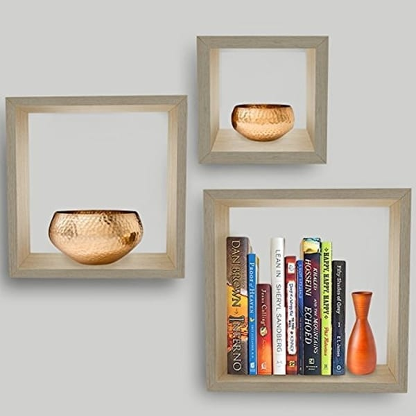 Sorbus Floating Box Shelves,Features Shadow Box/Cube/Square Frame Design (Maple) 32341864