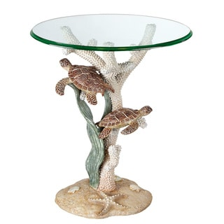 Seahaven Turtle Sealife Accent Table Ivory
