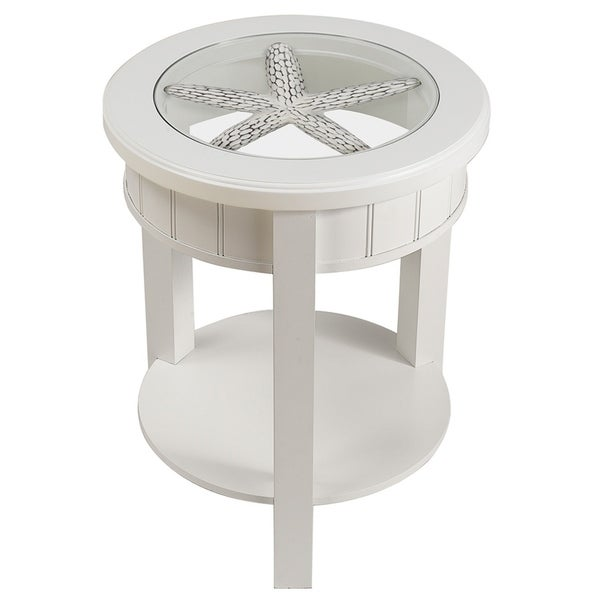 Seahaven Round White Wood Glass Top Accent Table 32343845