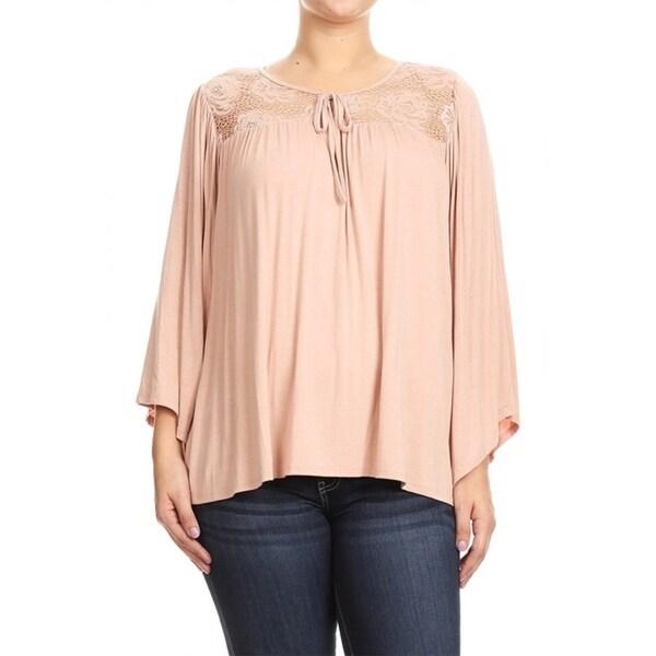 Women's Plus Size Lace Yoke Detailing Top 32349438