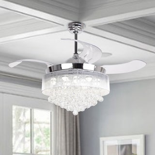 42-inch Crystal LED Ceiling Fan,4-Blades,Remote and Light Kit Included