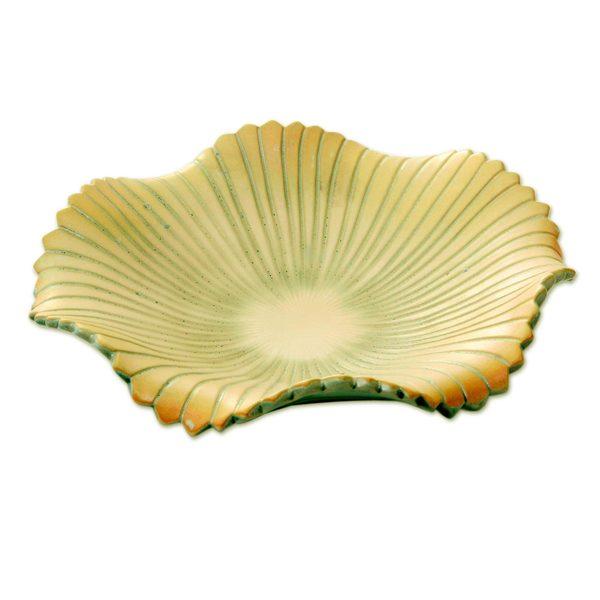 Ceramic Fruit Bowl, 'Hibiscus Flower' (Indonesia) 32367888