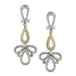 18k Two-tone Gold 1-1/4ct TDW Diamond Earrings
