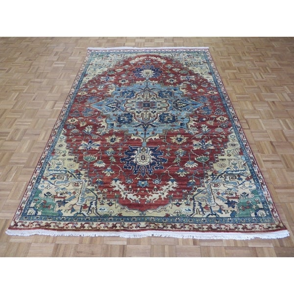 """Hand Knotted Rust Red Fine Serapi Heriz with Wool Oriental Rug (6' x 8'11"""") 32381409"""