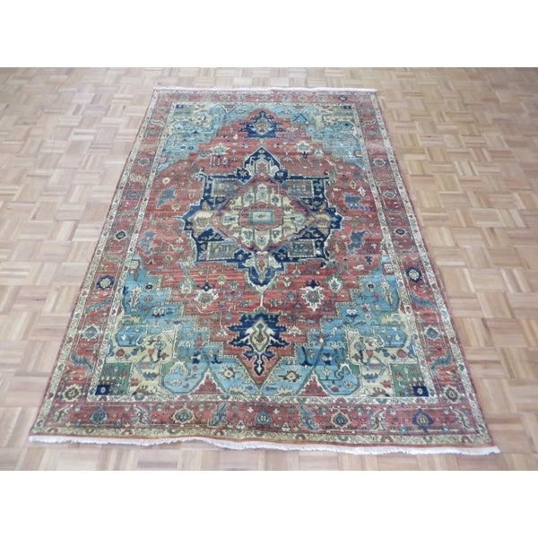 "Hand Knotted Ivory Fine Serapi Heriz with Wool Oriental Rug (6' x 8'9"") 32381445"