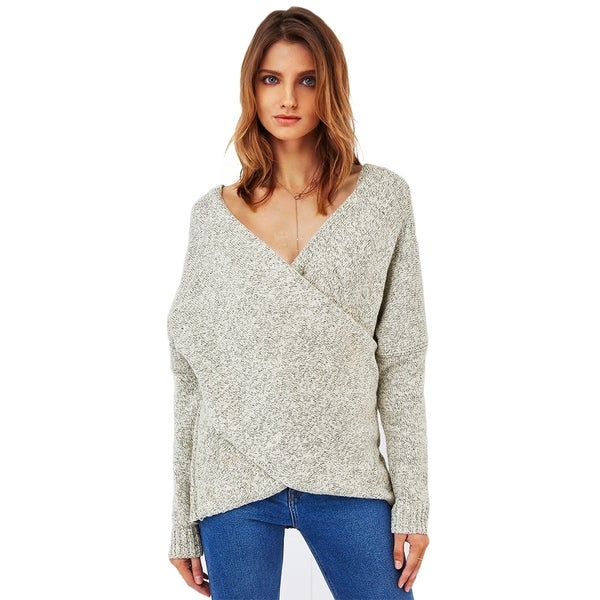 Cupshe Women's Solid Front Criss Cross Plunging Sweater Long Sleeve Pullover Sweater, Grey 32384405