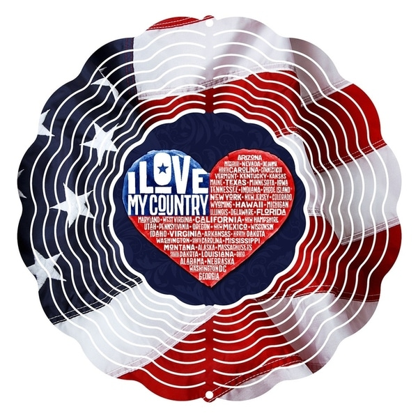 Next Innovations 10-inch Love My Country Steel Wind Spinner 32384965