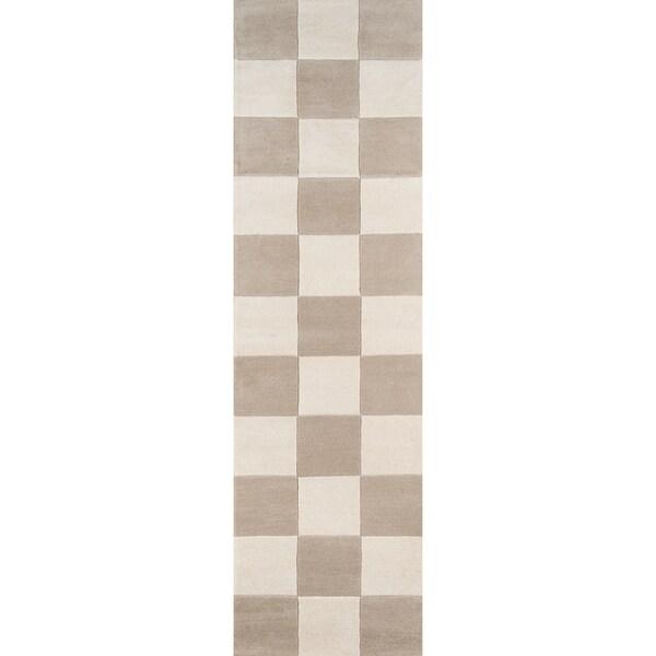 "Momeni Delmar Novogratz Check Taupe Wool Rug (2'3 x 8') - 2'3"" x 8' 32388377"