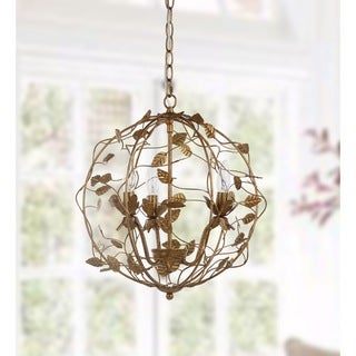 "Safavieh Lighting Austen Adjustable 3-light LED Gold Leaf Cage Chandelier - 17"" x 17"" x 20.75-92.75"""