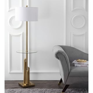 "Safavieh Lighting 61-inch Ambrosio Glass Side Table Floor Lamp - 17"" x 17"" x 61"""