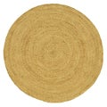 Hand-woven Braided Bleached Natural Jute Rug (8&#39; Round)