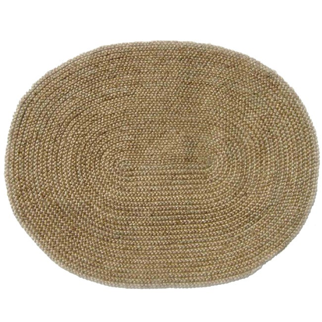 "Hand-woven Braided Bleached Natural Jute Rug (6' 6"" x 8' Oval)"