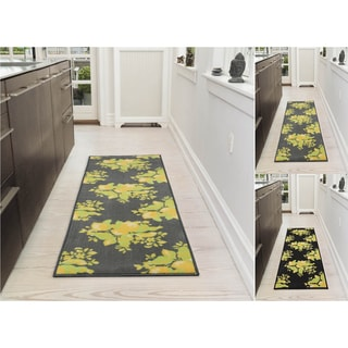 Ottomanson Lemon Collection Floral Design Non-Slip Runner Rug