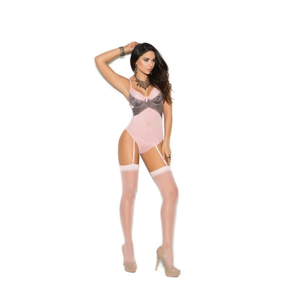 Mesh thong back teddiette with attached garters. 32422341
