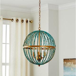 "Safavieh Lighting Lalita Blue Cage LED 4-light Adjustable Chandelier - 17.75"" x 17.75"" x 26-98"""