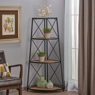 "Nesha Industrial 3 Shelf Firwood Corner Bookcase by Christopher Knight Home - 26.75"" W x 18.50"" D x 52.50"" H"