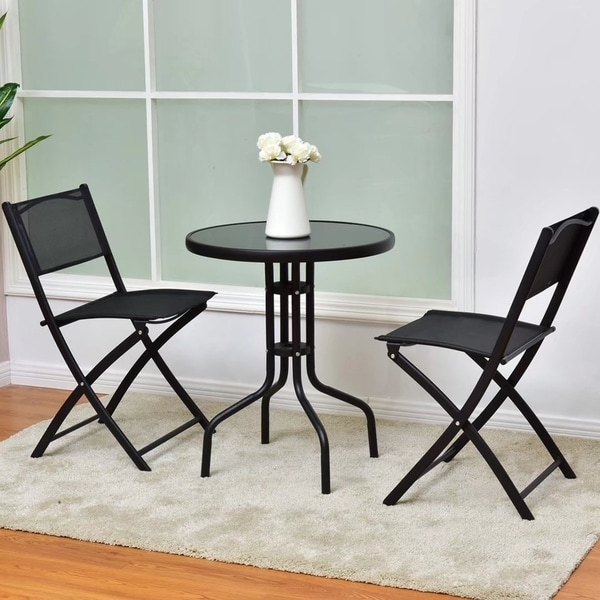 3Pcs Bistro Set Garden Table Folding Chair Outdoor Patio Furniture 32436503