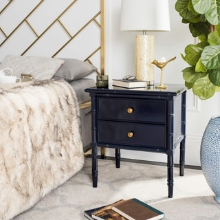 Safavieh Mina Modern Coastal 2-Drawer Navy Bamboo Nightstand