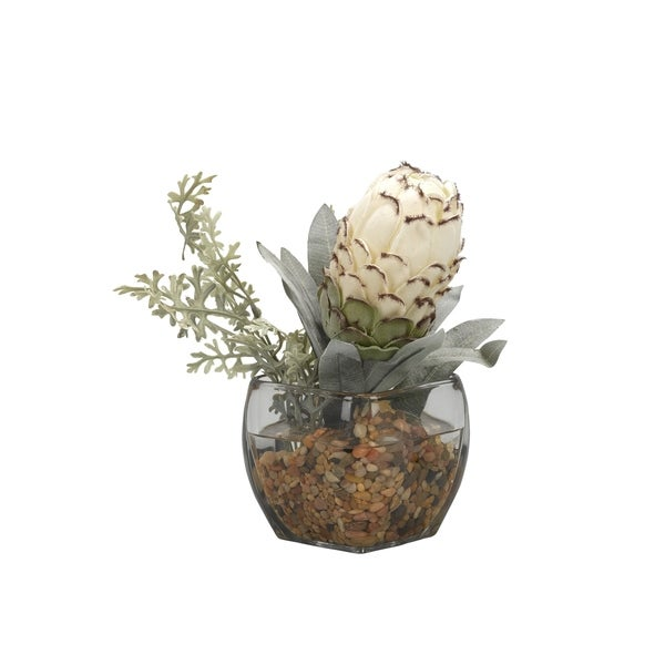 D&W Silks White Royal Protea with Dusty Miller in Glass Cube 32438176