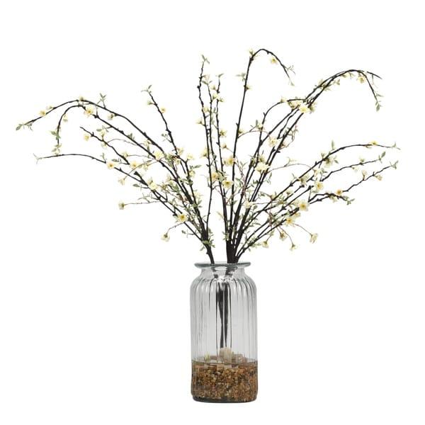 D&W Silks White Peach Blossom Branches in Glass Vase 32438178