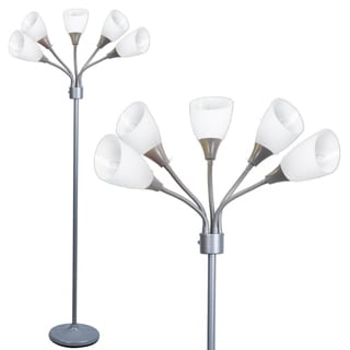Decor Works 5 Light Floor Lamp with White Shades