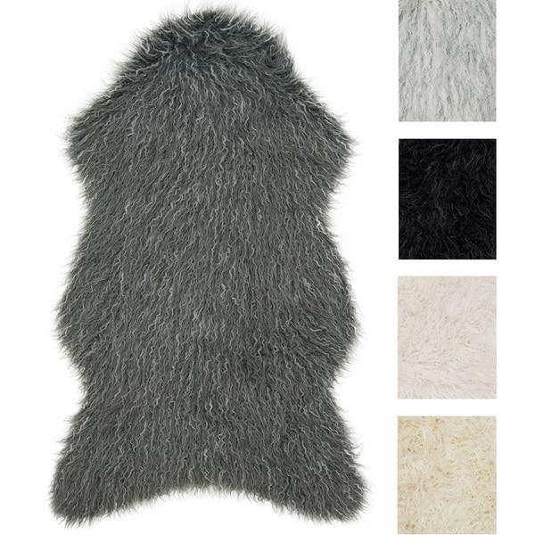 Rustic Faux Fur Shaped Curly Hair Shag Rug (2'6 x 4'2) 32455659