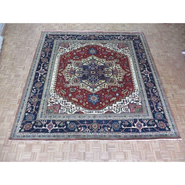 """Hand Knotted Rust Red Serapi Heriz with Wool Oriental Rug (11'11"""" x 12'1"""") 32467572"""